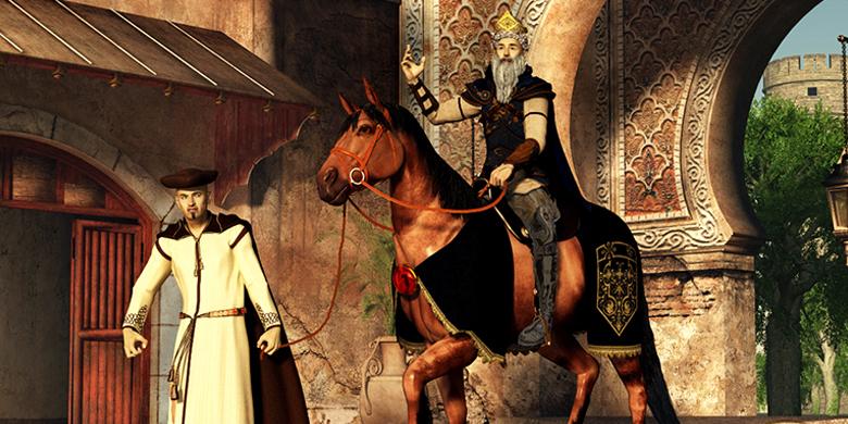 המן מוביל את מרדכי על סוס המלך בבגדי המלך